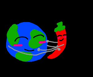 The world (not Jojo) and a chili hugging