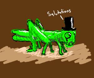 detailed grasshopper says greetings