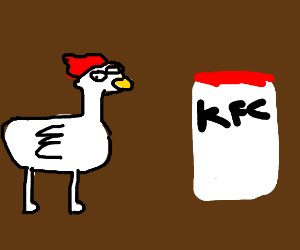 a chicken with googley eyes sees KFC