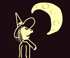witch with a pig nose looks at moon
