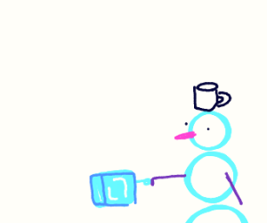 Snowman with mug on head fistbump's icecube