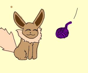 evee with purple yarn balls