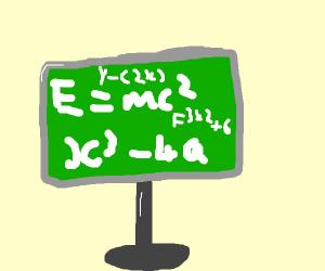 Complex maths on green blackboard