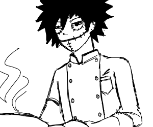 dabi (bnha) as a chef with HOT skillet