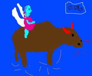 Fairy riding a demon bull