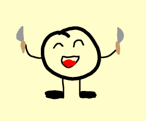 happy circle with knives