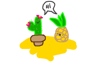 Pineapple and Cactus on sand