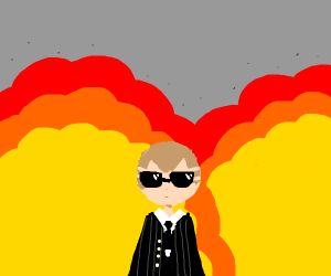 Cool dudes with explosion behind them