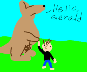 Kangaroo greets a small human