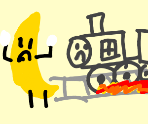 A train about to hit a giant banana