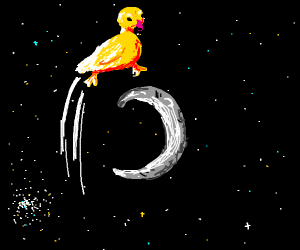 A duck jumping over the moon