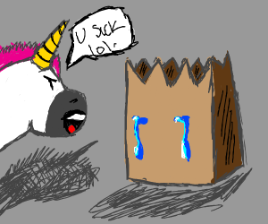 paper bag getting bullied by unicorn