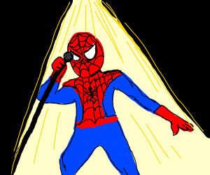 spider man singing with a microphone stand