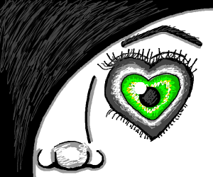 Girl having one eye a heart