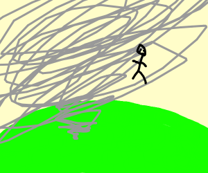 A huge tornado on a green planet