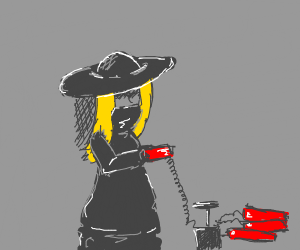 mysterious woman planting a bomb