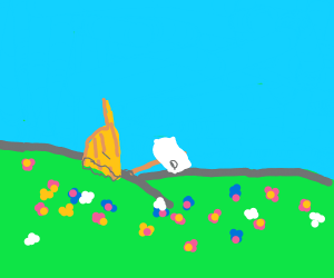 Shipwreck in flower field