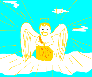 angel with moustache praying