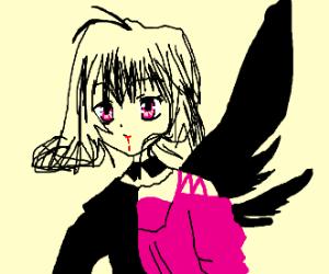 Anime vampire w/ black wings