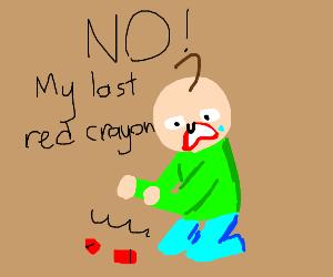 Baldi's little kid broke his last red crayon