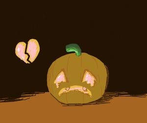 The jack o lantern had its heart broken