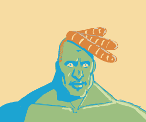 Green guy with baguettes for hair wants u