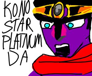 Star platinum makes a jojo reference