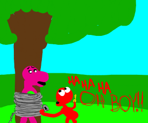 Elmo chains Barney to a tree