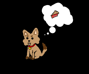 cute doggo thinking of pie