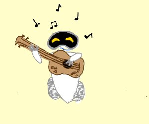 Wall-E and EVE's son plays guitar