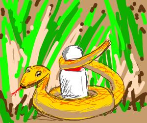 Snake protecting a bowling pin