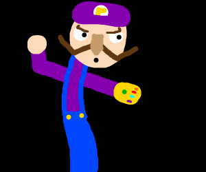 Rejected Purple Luigi holding Power Glove 2.0