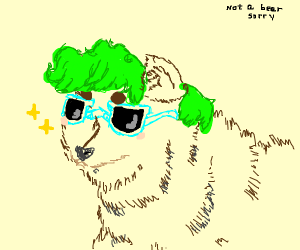 wolf wearing a green wig