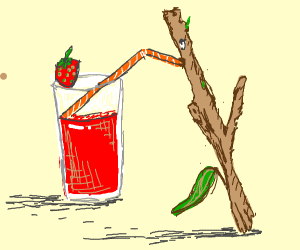 A stick drinks strawberry juice
