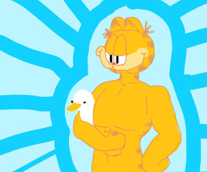 Buff & Ripped Garfield Holding A Duck