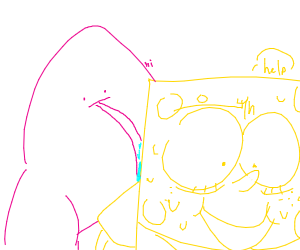 Patrick licking SpongeBob's cheek
