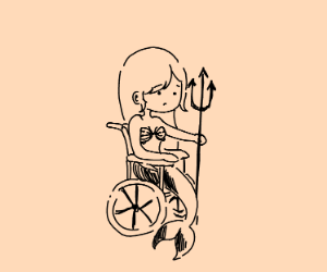 A mermaid with a trident on a wheelchair