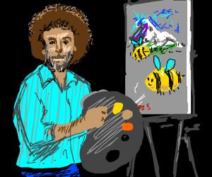 Bob Ross paints happy little bees