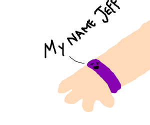purple bracelet says my name jeff
