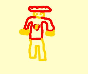 orange superman with flat hair
