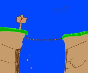 A rickety bridge connecting two land masses
