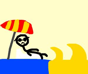 man at reverse beach