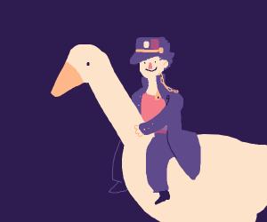 Jotaro riding that goose