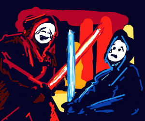 Kylo and Rey fighting but they're emojis