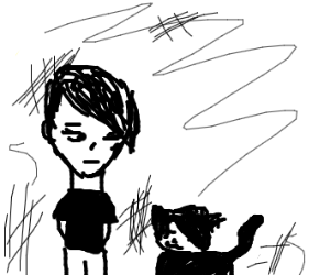 Emo girl and her emo cat
