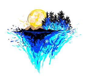 abstract art tree moon and mountains
