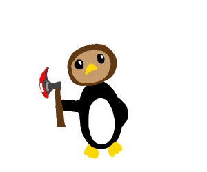 an owl-penguin with a bloody axe