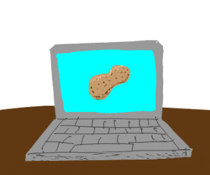 peanut on the screen of a laptop