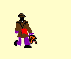 Bloody man petting a dog