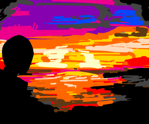 Person looking at a sunset